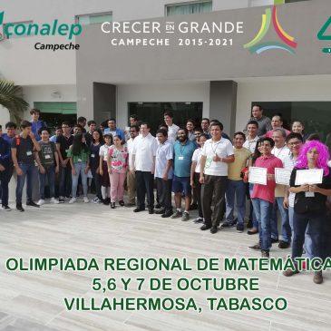 Participa el CONALEP Campeche en la Olimpiada Regional de Matemáticas 2018