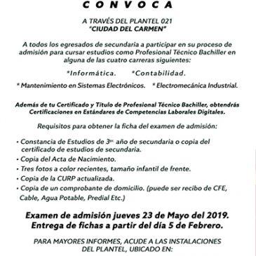 Convocatorias para examen de admisión 2019